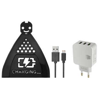 پایه نگهدارنده شارژر موبایل مدل Hng 0229 به همراه شارژر دیواری و کابل تبدیل USB به لایتنینگmicroUSB