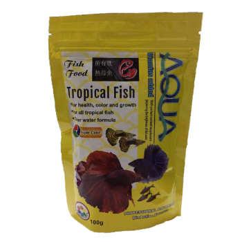 غذای ماهی آکوا مدل tropical fishوزن 100 گرم