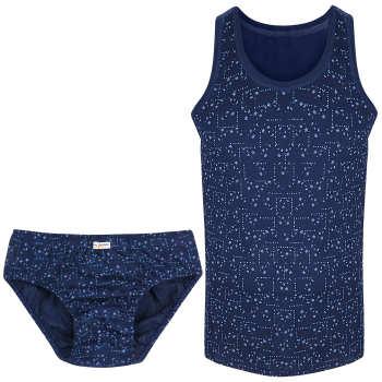 ست شورت و زیرپوش مردانه ساقدوش طرح کاج کد 124-10 رنگ سورمه ای