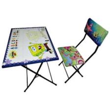 میز تحریر و صندلی طرح باب اسفنجی وایت بردی،تاشو،تنظیم شونده ارتفاع