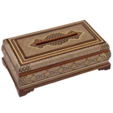 جعبه دستمال کاغذی خاتم کاری گالری گوهران مدل 428