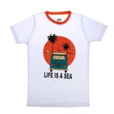 تی شرت ناوالس مدل LifeIsAsea-WH
