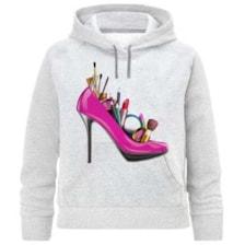هودی دخترانه طرح کفش پاشنه بلند کد F291