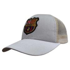 کلاه کپ پسرانه طرح بارسلونا کد PT-30366 رنگ طوسی روشن