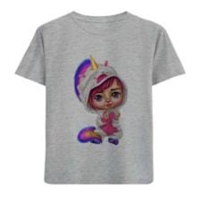 تی شرت آستین کوتاه دخترانه طرح لباس تک شاخ کد F64