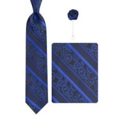 ست کراوات و دستمال جیب و گل کت مردانه جیان فرانکو روسی مدل GF-ST601-BL