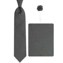 ست کراوات و دستمال جیب و گل کت مردانه جیان فرانکو روسی مدل GF-PO609-BK