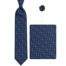 ست کراوات و دستمال جیب و گل کت مردانه جیان فرانکو روسی مدل GF-PO613-DB