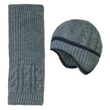 ست کلاه و شال گردن بافتنی پسرانه کد P02082 رنگ خاکستری