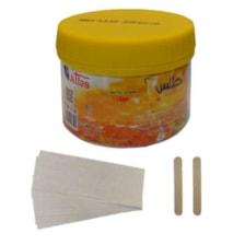 موم موبر اطلس مدل عسل حجم 700 میلی لیتر به همراه پد اپیلاسیون بسته 10 عددی و آبسلانگ موم بسته 2 عددی