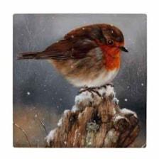 کاشی طرح نقاشی پرنده و روز برفی کد wk3343