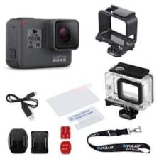 مجموعه دوربین فیلم برداری ورزشی گوپرو مدل HERO5 Black Quick Stories همراه با قاب ضد آب و بند آویز پلوز