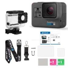 دوربین فیلم برداری ورزشی گوپرو مدل HERO6 Black Quick Stories به همراه کاور ضد آب لمسی و بندآویز و محفظ صفحه و لنز پلوز