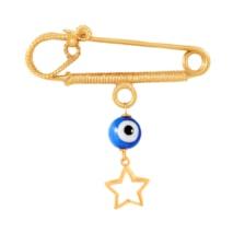 سنجاق سینه طلا بچه گانه ستاره توخالی و چشم نظر