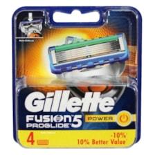 تیغ یدک ژیلت مردانه مدل Fusion Proglide Power 5 بسته 4 عددی جنس تیغه استیل ضد زنگ